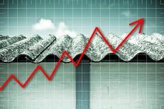 Panneaux dangereux de toit d'amiante - un des matériaux les plus dangereux dans l'industrie du bâtiment - image de concept de dia photo stock