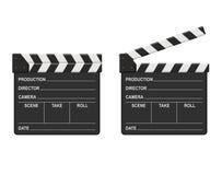 Panneaux de clapets de film d'isolement sur le fond blanc Cinéma vide de clapet de film Photographie stock