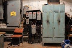 Panneaux de commande électriques de vieux vintage Images libres de droits