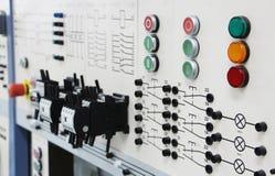 Panneaux de commande dans un laboratoire d'électronique photographie stock libre de droits