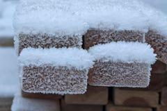 Panneaux de construction sous la neige Images stock