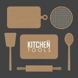 Panneaux de cuisine et outil en bois illustration stock