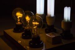Panneaux de lampe d'essai avec l'ampoule, compact-fluorescente Images stock