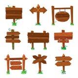 Panneaux de signe dans l'herbe verte Panneaux routiers en bois de planche, enseigne en bois ou ensemble d'isolement de vecteur de illustration stock