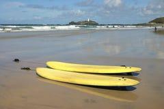 Panneaux de vague déferlante sur Gwithian Towans Photo libre de droits