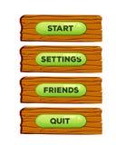 Panneaux en bois de bande dessinée pour le jeu sur Internet UI et les applications de navigateur avec des boutons de menu Illustr illustration stock