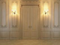 panneaux en bois du rendu 3D dans l'intérieur photographie stock