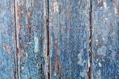 Panneaux en bois peints par bleu âgés/affligés Image stock