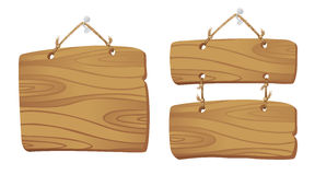 Panneaux en bois sur un cordon. illustration libre de droits