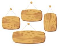 Panneaux en bois sur un cordon. illustration de vecteur