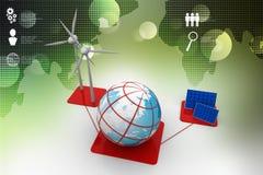 Panneaux et turbine de vent à énergie solaire illustration de vecteur