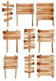 Panneaux indicateurs en bois de vecteur Images stock