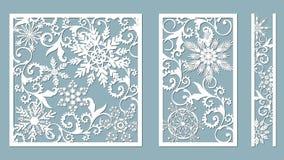 Panneaux ornementaux avec le modèle de flocon de neige Le laser a coupé les modèles décoratifs de frontières de dentelle Ensemble illustration de vecteur