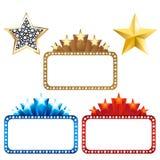 Panneaux-réclame blanc avec des étoiles. Vecteur Image stock