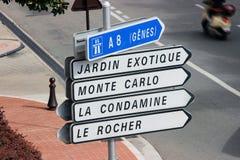 Panneaux routiers au Monaco Images stock