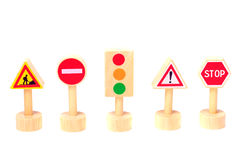 Panneaux routiers d'isolement sur le fond blanc Toy Traffic Photo libre de droits