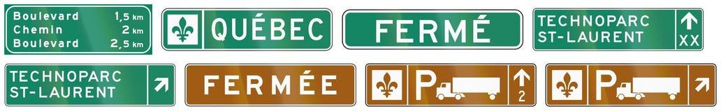 Panneaux routiers de guide au Québec - Canada illustration stock