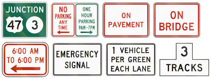 Panneaux routiers de réglementation des Etats-Unis MUTCD Images libres de droits