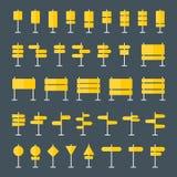 Panneaux routiers et icônes plates d'indicateurs réglées illustration de vecteur