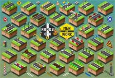 Panneaux routiers isométriques réglés sur le terrain vert Images stock