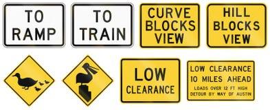 Panneaux routiers utilisés dans l'état d'USA du Texas Images libres de droits