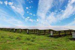 Panneaux solaires à l'arrière-plan solaire de ciel bleu de fermes photographie stock libre de droits