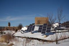Panneaux solaires à l'Université du Michigan Images stock