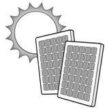 Panneaux solaires avec l'illustration de Sun Images stock