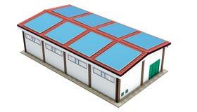 Panneaux solaires d'entrepôt industriel Photos libres de droits
