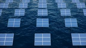 panneaux solaires de l'illustration 3D dans la mer ou l'oc?an ?nergie de substitution Concept d'?nergie renouvelable ?cologique,  photographie stock libre de droits