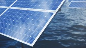 panneaux solaires de l'illustration 3D dans la mer ou l'oc?an ?nergie de substitution Concept d'?nergie renouvelable ?cologique,  images stock