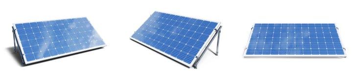 panneaux solaires de l'illustration 3D d'isolement sur le fond blanc Panneaux solaires r?gl?s avec le beau ciel bleu de r?flexion photographie stock