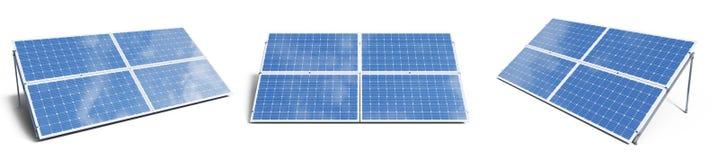 panneaux solaires de l'illustration 3D d'isolement sur le fond blanc Panneaux solaires r?gl?s avec le beau ciel bleu de r?flexion photos stock