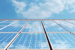 panneaux solaires de l'illustration 3D sur un toit rouge reflétant le ciel bleu sans nuages Énergie et l'électricité Énergie de s illustration libre de droits