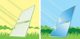 Panneaux solaires en couleurs Photographie stock