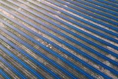 Panneaux solaires placés sur un pré de campagne Photographie stock libre de droits