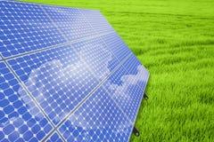 Panneaux solaires sur la trame en acier Photo libre de droits