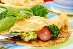 Pannekoek met broccoli Royalty-vrije Stock Afbeeldingen