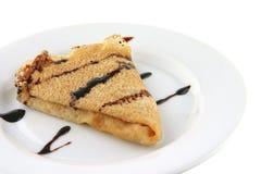Pannekoek met chocolade Stock Foto