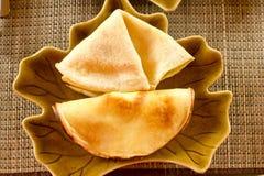 Pannekoek met omelet royalty-vrije stock afbeeldingen