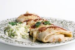 Pannekoek/tortilla/burrito op plaat Stock Foto