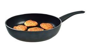 Pannekoeken in een pan Stock Foto