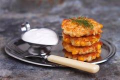 Pannekoeken gemaakt tot †‹â€ ‹van graan en vork Royalty-vrije Stock Foto's