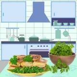 Pannekoeken in keuken Royalty-vrije Stock Afbeelding