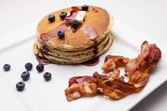 Pannekoeken met Bacon Stock Foto's