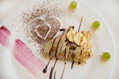 Pannekoeken met chocolade en banaan Stock Foto