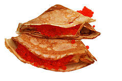 Pannekoeken met kaviaar Stock Fotografie