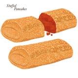 Pannekoeken met rode kaviaar vector illustratie