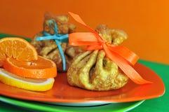 Pannekoeken met sinaasappel en citroen Stock Afbeeldingen