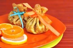 Pannekoeken met sinaasappel en citroen Royalty-vrije Stock Fotografie